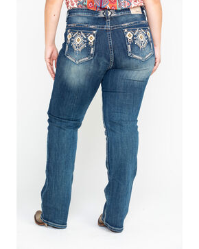 Grace In LA Women's Diamond Pocket Boot Jeans - Plus , Indigo, hi-res