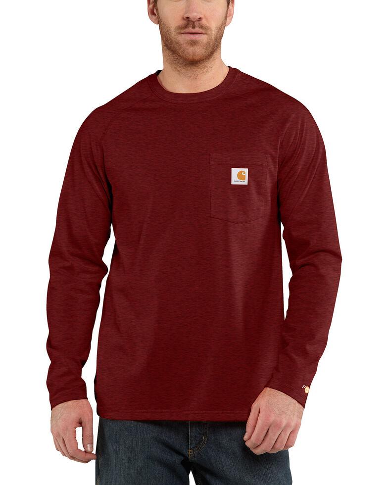 Carhartt Men's Solid Force Long Sleeve Work Shirt, Red/brown, hi-res