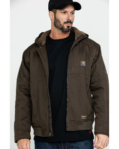 Ariat Men's Rebar Dura Canvas Zip-Front Work Jacket - Big & Tall, Loden, hi-res