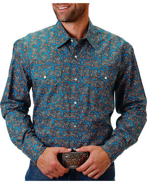Roper Men's Sundown Blue Paisley Long Sleeve Snap Shirt, Blue, hi-res