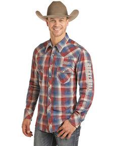Rock & Roll Cowboy Men's Plaid Logo Long Sleeve Western Shirt , Red, hi-res