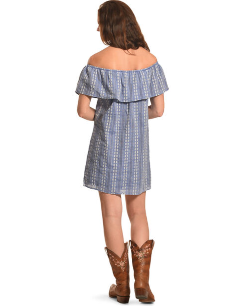 Onetheland Women's Blue Stripe Floral Dress , Blue, hi-res
