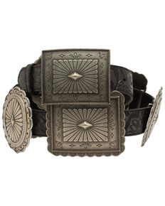 Ariat Women's Embossed Concho Western Belt, Black, hi-res