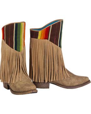 Blazin Roxx Girls' Raven Serape Fringe Cowgirl Boots - Snip Toe, Brown, hi-res