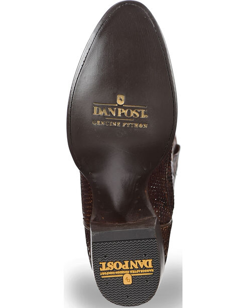 Dan Post Men's Chocolate Back Cut Python Cowboy Boots - Round Toe, Chocolate, hi-res