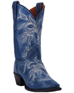 Dan Post Women's Nora Blue Leaf Stitch Boots - Snip Toe , Red, hi-res