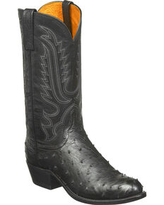 Lucchese Men's Handmade Luke Full Quill Ostrich Western Boots - Medium Toe, Black, hi-res