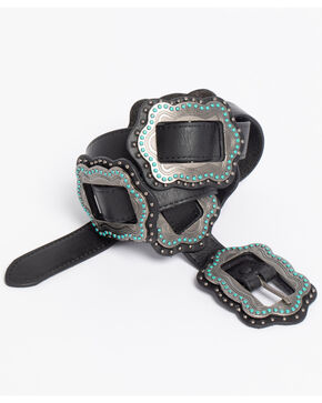 Roper Women's Black Slide-On Conchos Belt, Black, hi-res