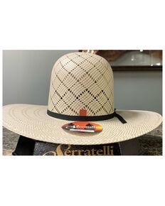 Serratelli Natural Panhandle Open Shantung Straw Western Hat , Natural, hi-res