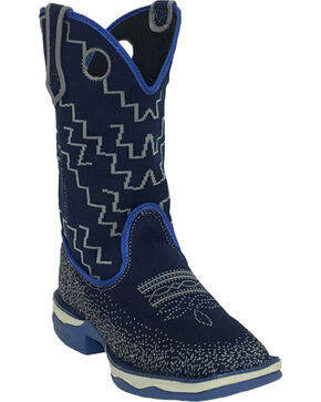 Laredo Women's Frolic Blue Woven Performair Stockman Boots - Square Toe, Blue, hi-res