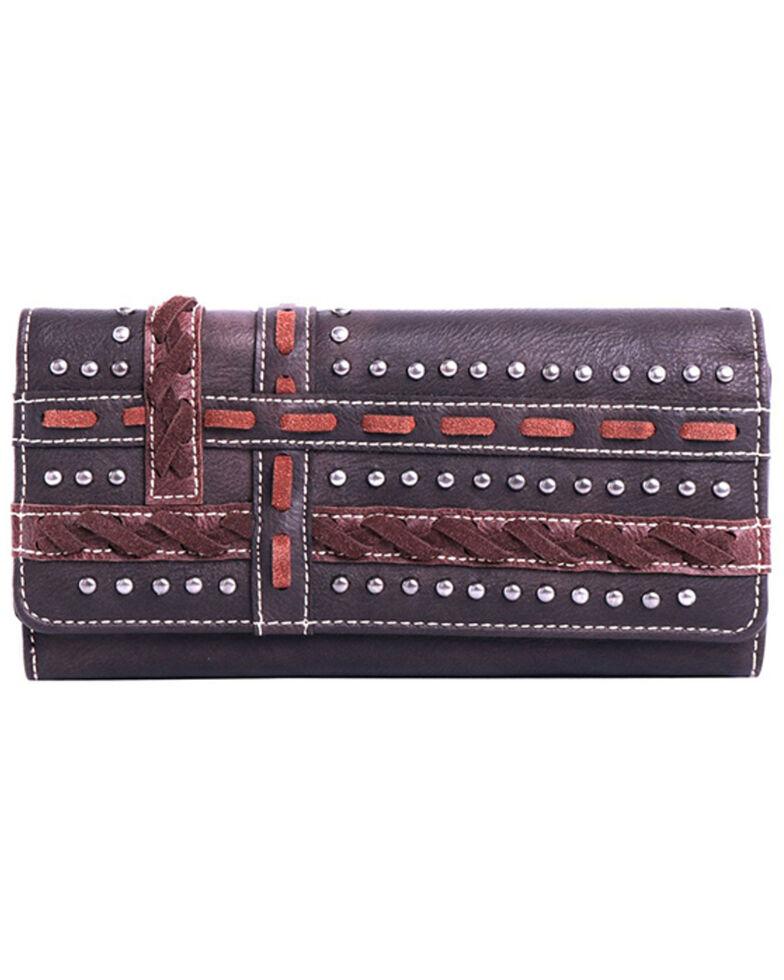 Montana West Women's Studded Woven Wallet, Dark Brown, hi-res
