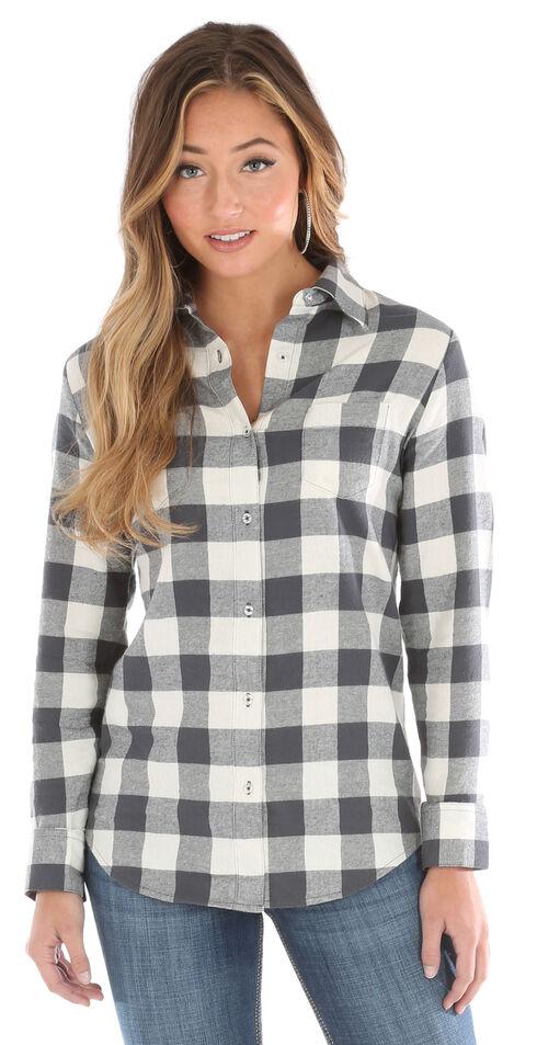 Wrangler Women's Cream As Real As Gingham Long Sleeve Flannel Shirt , Cream, hi-res