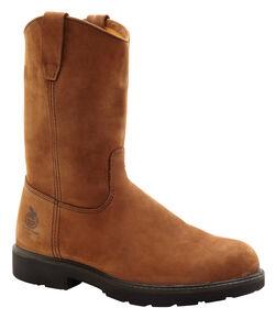 Georgia Wellington Pull-On Work Boots - Steel Toe, Brown, hi-res