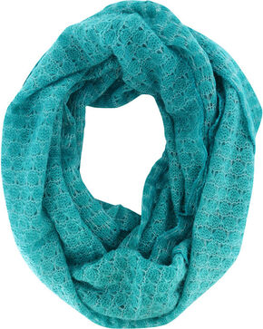 Shyanne Women's Glitter Infinity Scarf , Turquoise, hi-res