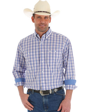 George Strait by Wrangler Men's Plaid Long Sleeve Button Down Shirt - Tall, Blue, hi-res