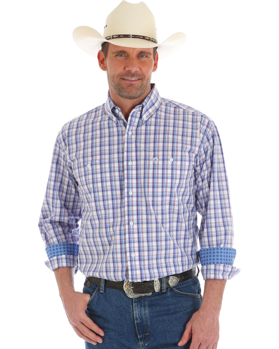 Wrangler George Strait Men's Plaid Long Sleeve Button Down Shirt - Tall, , hi-res
