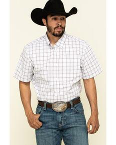 Cody James Core Men's Badlands Small Plaid Short Sleeve Western Shirt , Maroon, hi-res
