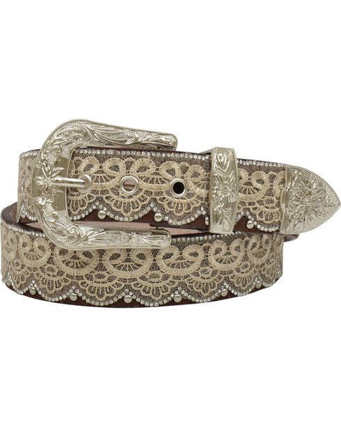 Angel Ranch Women's Brown Rhinestone Lace Leather Belt , Brown, hi-res