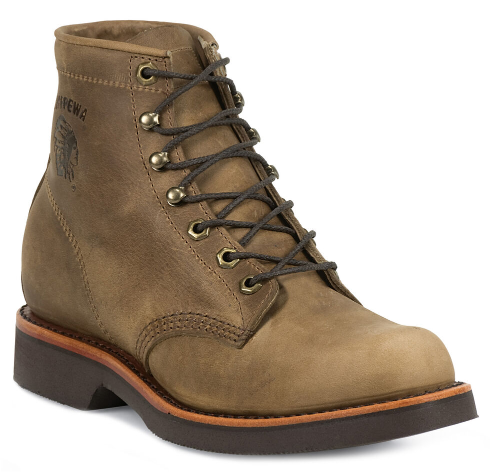 """Chippewa Classic 6"""" Lace-Up Work Boots - Round Toe, Tan, hi-res"""