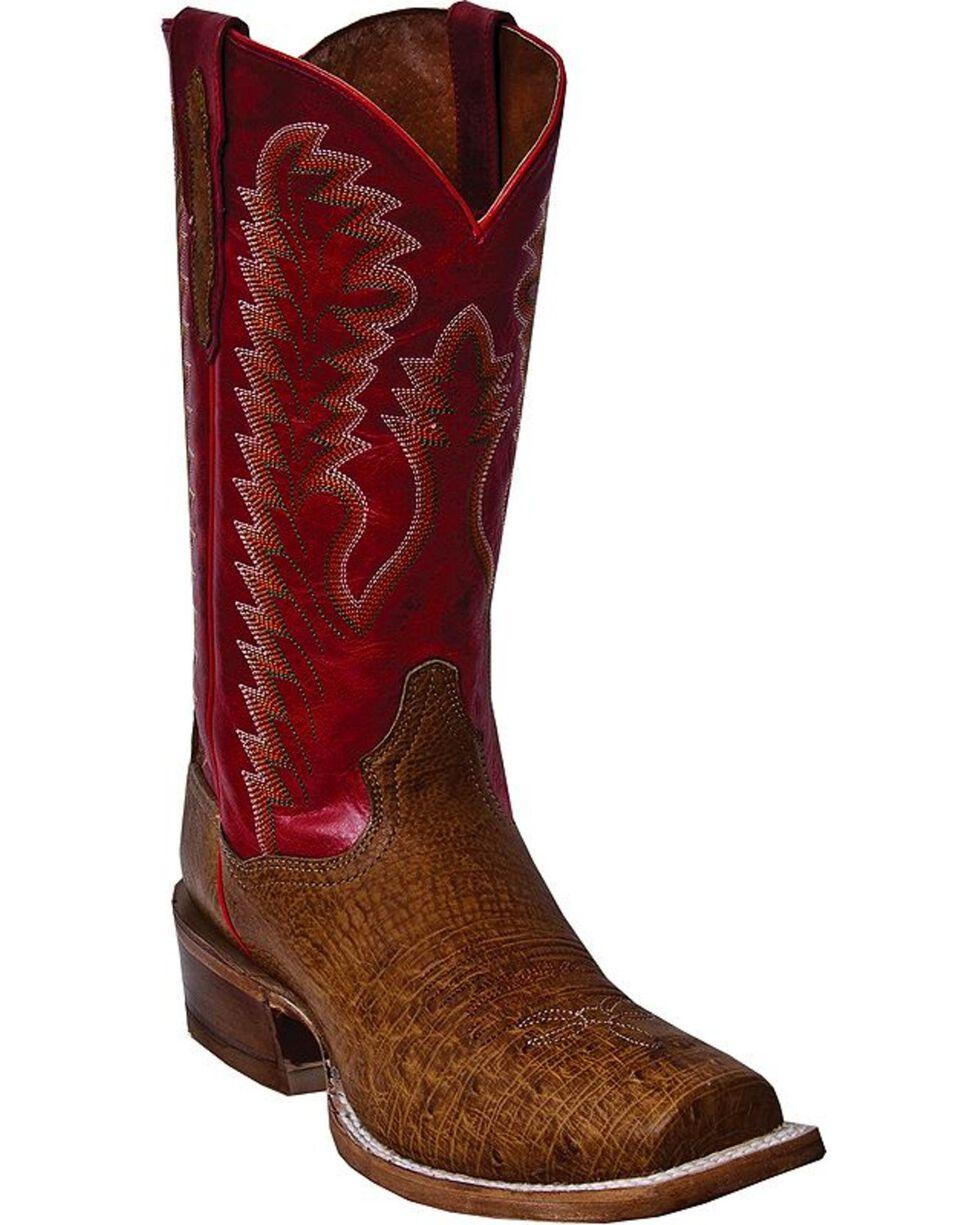 Dan Post Bender Smooth Ostrich Cowboy Boots - Square Toe, Antique Saddle, hi-res