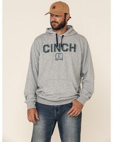 Cinch Men's Heather Grey Logo Hooded Sweatshirt , Heather Grey, hi-res
