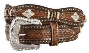 Nocona Scalloped Basketweave Concho Western Belt, Tan, hi-res