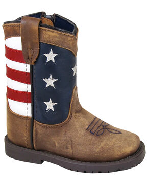 Smoky Mountain Toddler Stars and Stripes Western Boots - Square Toe, Distressed Brown, hi-res