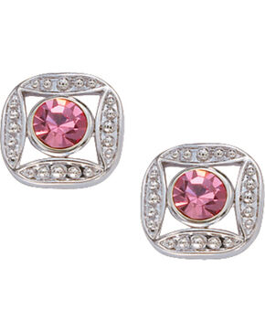 Montana Silversmiths Bezel Set Pink Crystal Earrings, Silver, hi-res