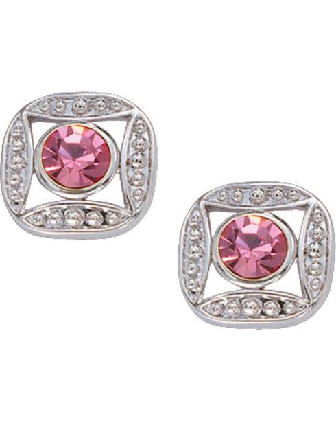 Montana Silversmiths Bezel Set Pink Crystal Earrings, Silver, hi-res