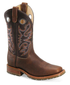 Double-H Men's Steel Toe Western Work Boots, Chocolate, hi-res
