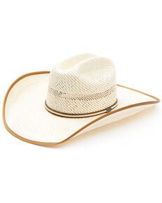 Justin Men's Ivory & Tan Owens Shantung Straw Western Hat  , Ivory, hi-res
