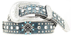 Blazin Roxx Turquoise Cross Studded Leather Belt, Turquoise, hi-res