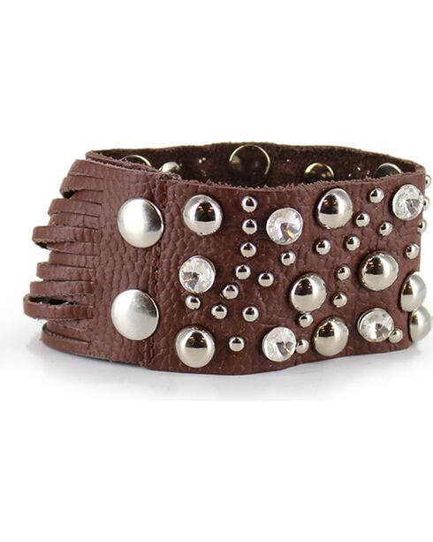 Shyanne Women's Rhinestone Studded Fringe Bracelet, Brown, hi-res