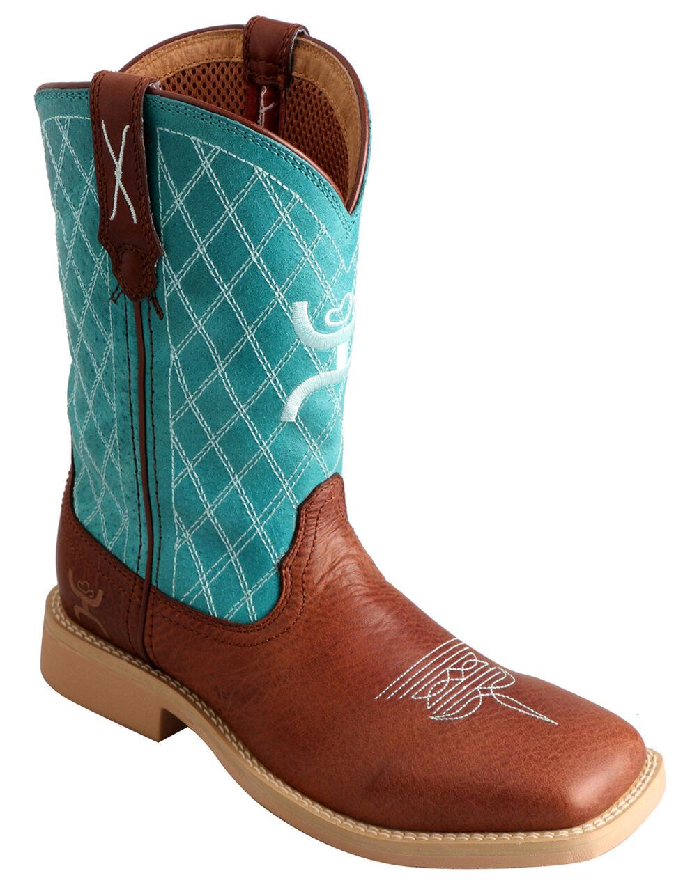 Twisted X Kid's Hooey Cowboy Boots - Square Toe, Cognac, hi-res