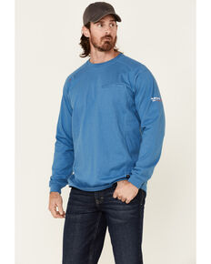 Ariat Men's FR Heather Turquoise Air On The Line Graphic Long Sleeve Work Shirt , Turquoise, hi-res