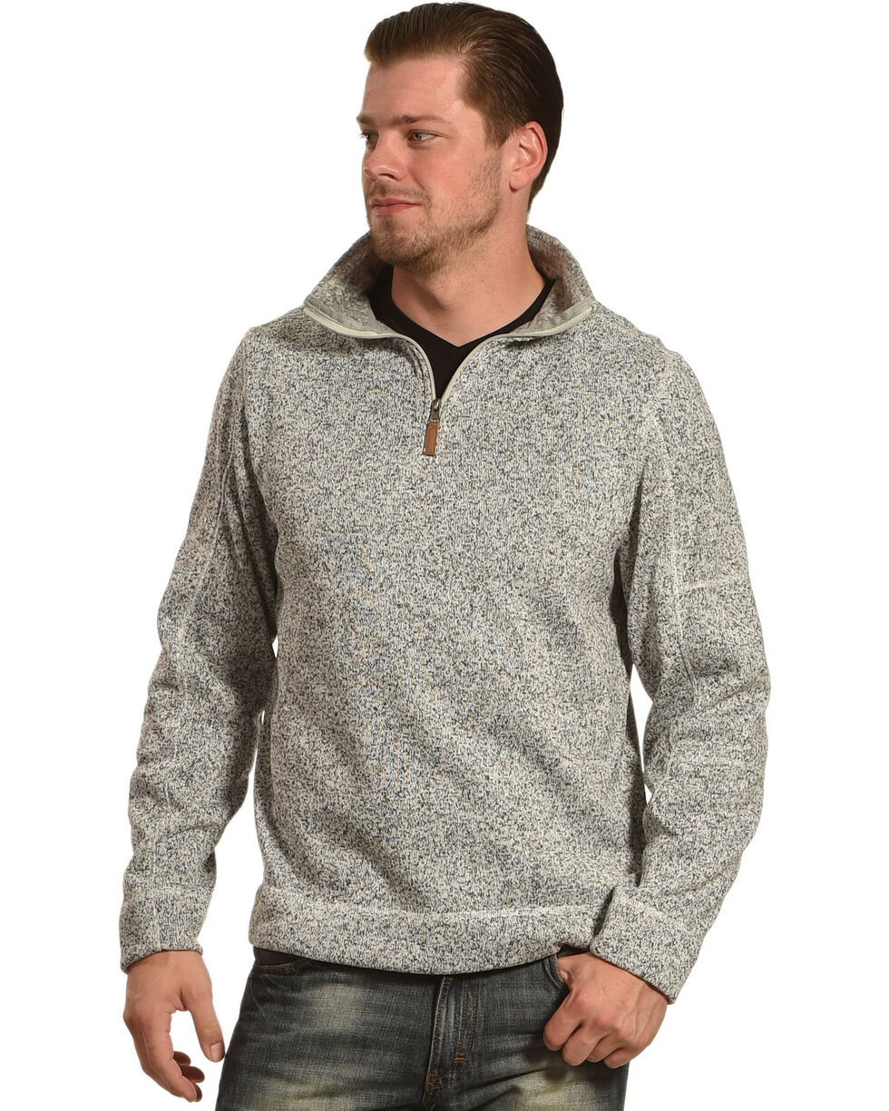 Victory Rugged Wear Men's Heather Knit Quarter Zip Pullover, Grey, hi-res