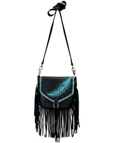 Montana West Women's Embroidered Feather Crossbody Bag, Black, hi-res