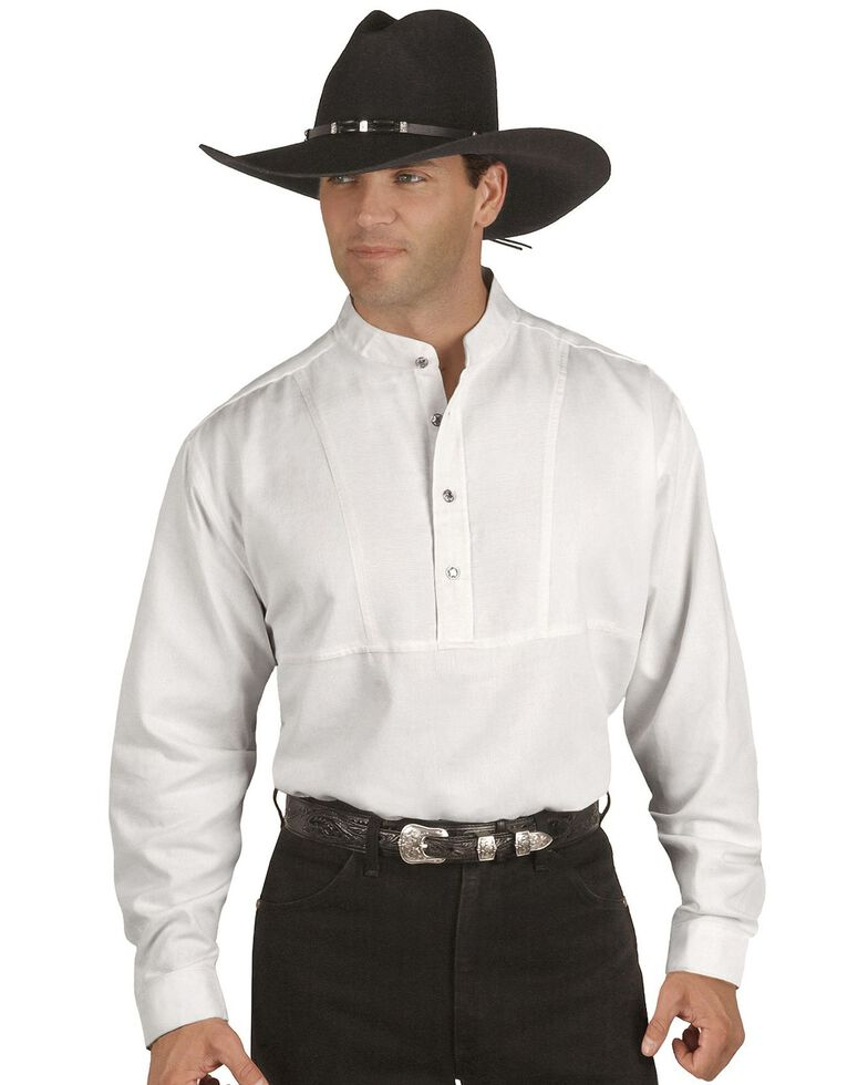 Rangewear by Scully Men's Solid Long Sleeve Western Traveler Shirt, White, hi-res