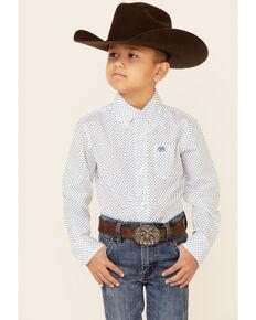 Wrangler Boys' White & Blue Dot Geo Print Long Sleeve Button-Down Western Shirt , White, hi-res