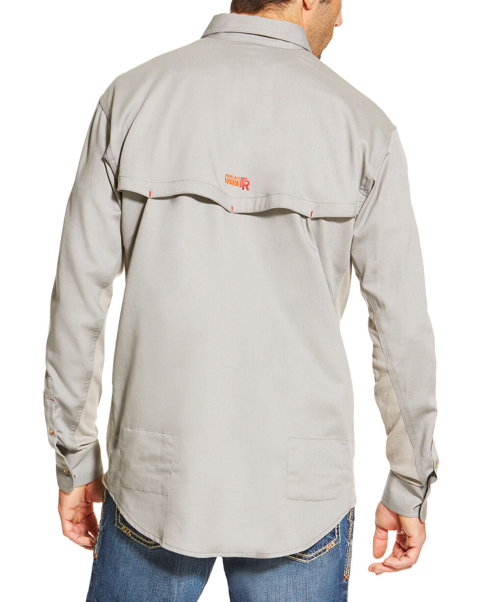 Ariat Men's Silver Flame Resistant Long Sleeve Work Shirt , Silver, hi-res