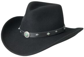Silverado Fancy Pinch Front Crushable Wool Cowboy Hat, Black, hi-res