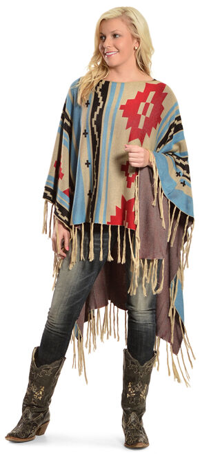 R Cinco Ranch Women's Sunterra Poncho, Multi, hi-res