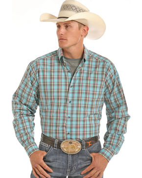 Tuf Cooper Performance Men's Competition Fit Blue Plaid Shirt , Blue, hi-res