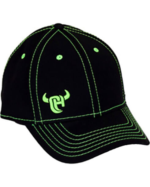 Cowboy Hardware Men's Black Lime Logo Flexfit Ball Cap, Black, hi-res