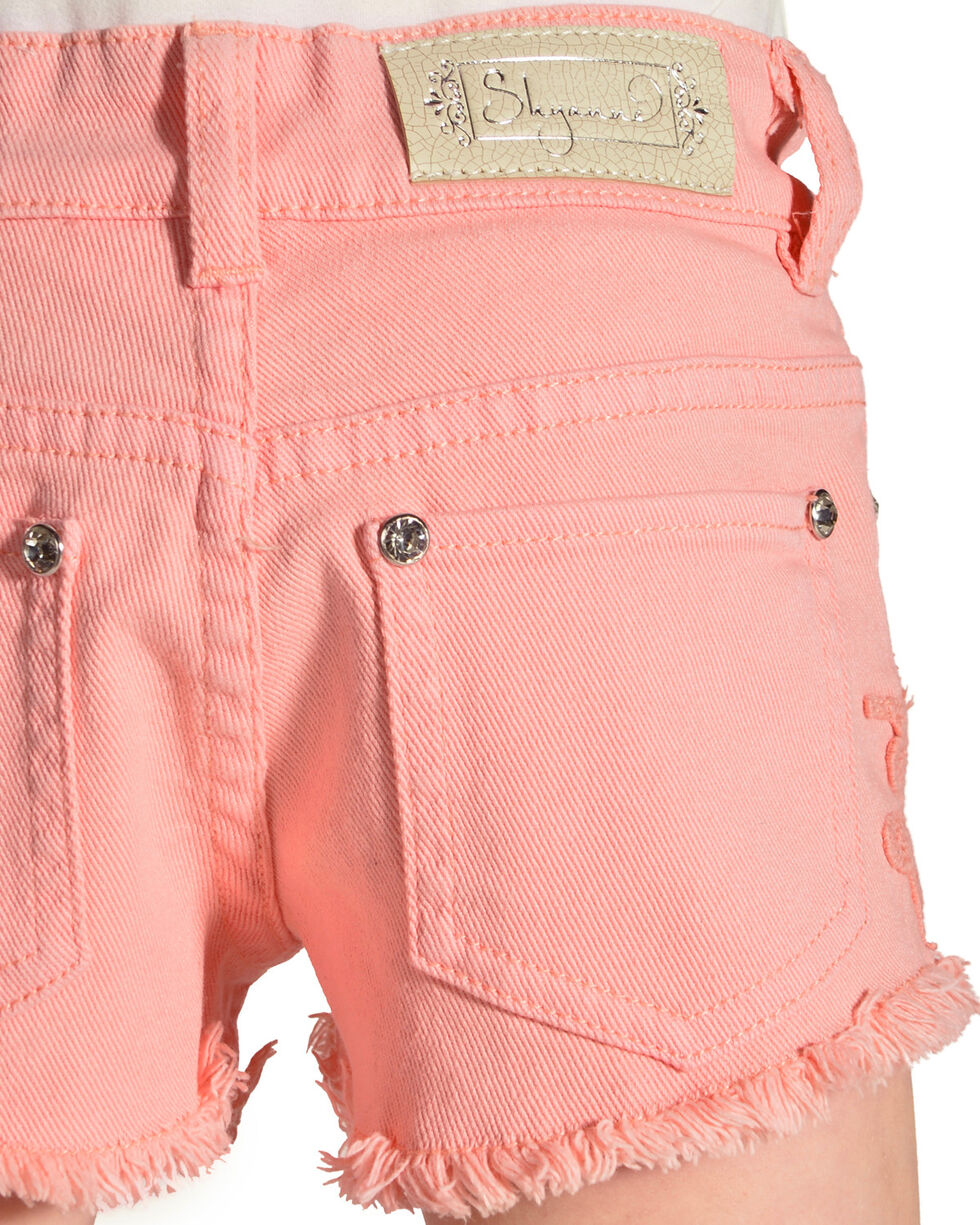 Shyanne Girls' Coral Denim Shorts with Floral Crochet Detailing, Coral, hi-res