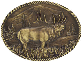 Montana Silversmiths Sculpted Wild Elk Heritage Attitude Belt Buckle, Gold, hi-res