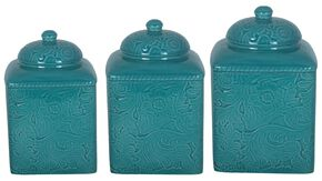 HiEnd Accents Savannah Canister Set, Turquoise, hi-res