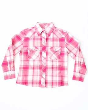 Panhandle Girls' Pink Plaid Western Shirt , Dark Red, hi-res