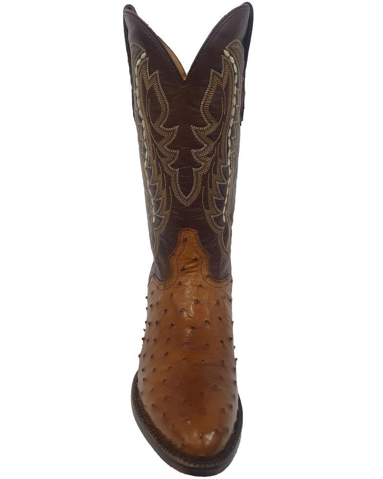 El Dorado Men's Full-Quill Ostrich Western Boots - Round Toe, Cognac, hi-res