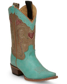 Justin Women's Mosaic Turquoise Western Boots - Snip Toe, Turquoise, hi-res